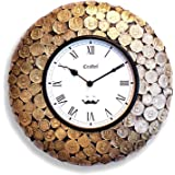 """Craftel 12"""" Antique Coin Antique Wall Clock,(Antique Gold)"""