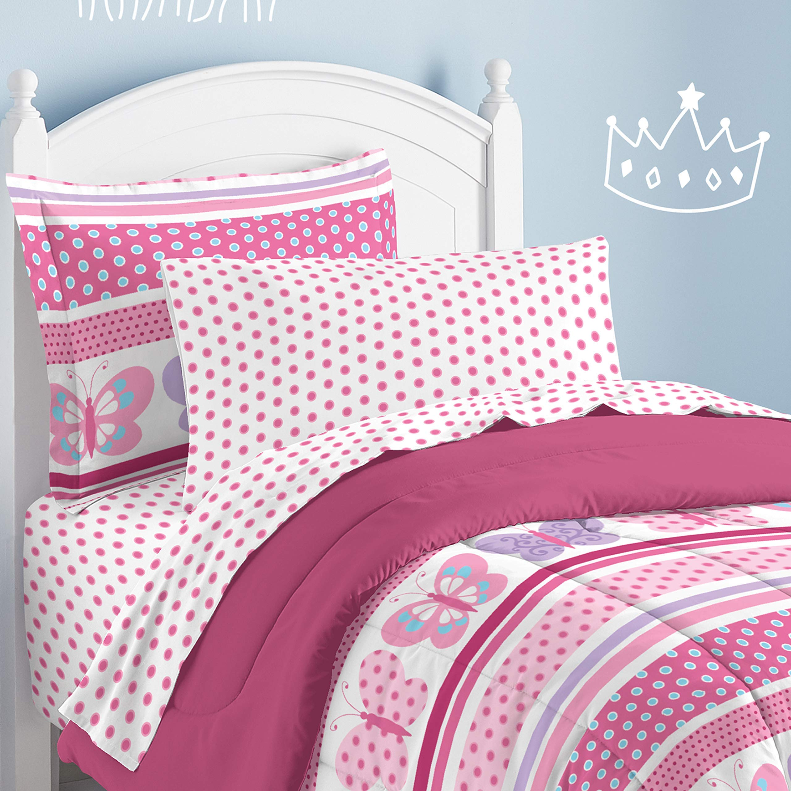 Dream Factory Butterfly Dots Ultra Soft Microfiber Girls Comforter Set, Pink, Twin by Dream Factory (Image #1)