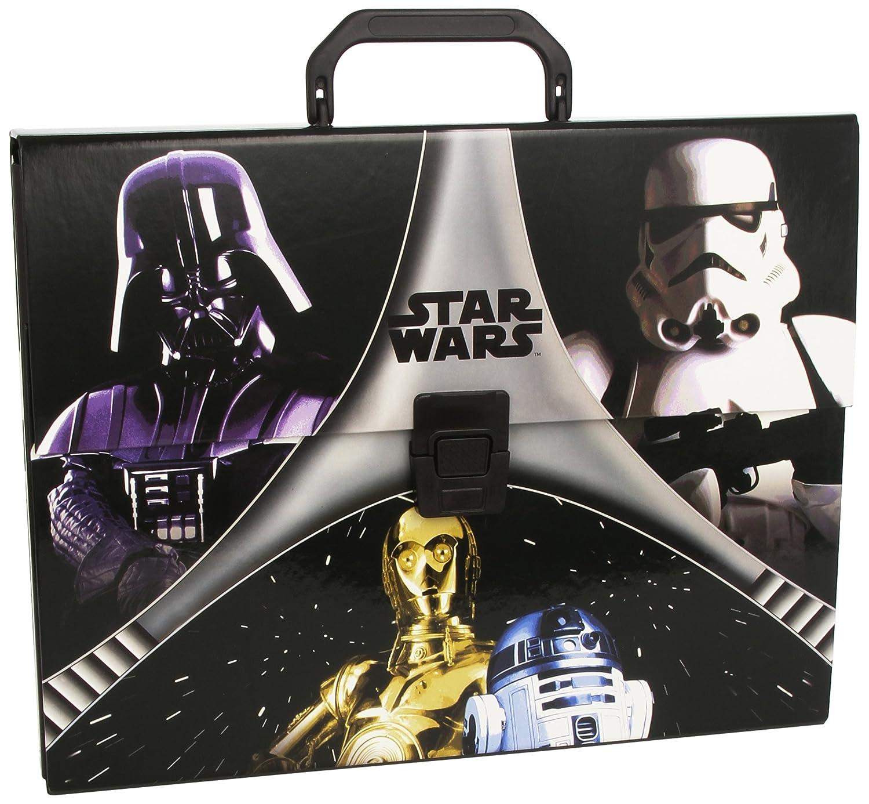 Star Wars - Maletín de cartón, color negro y gris (Montichelvo 40732) galaxias guerra maletin
