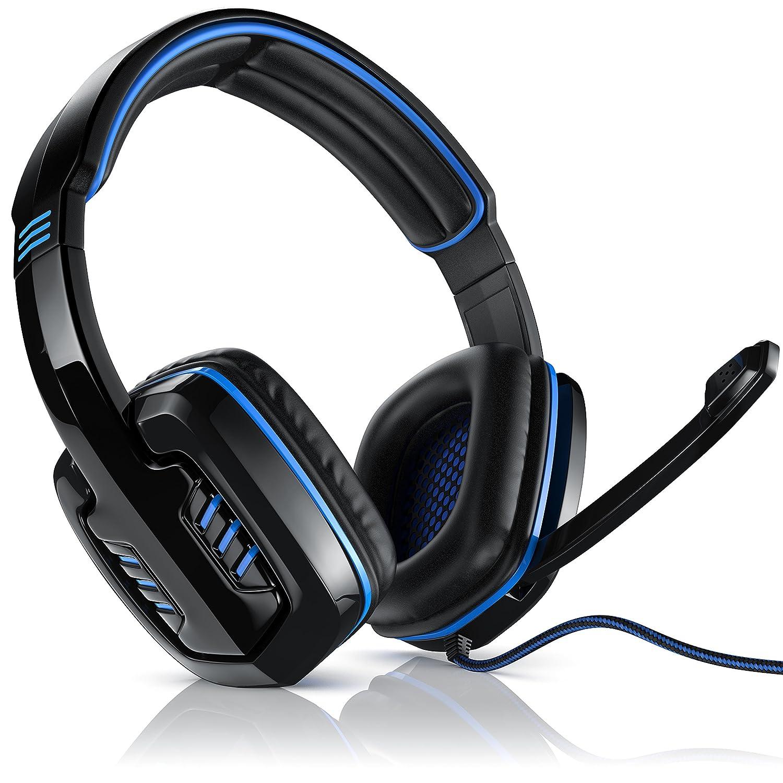 CSL - 7.1 USB Gaming Headset inkl. externer Soundkarte | Virtual 7.1 Surround Sound | PC Gamingheadset | Kabelfernbedienung/Externe Soundkarte | Farbe: schwarz/blau CSL-Computer