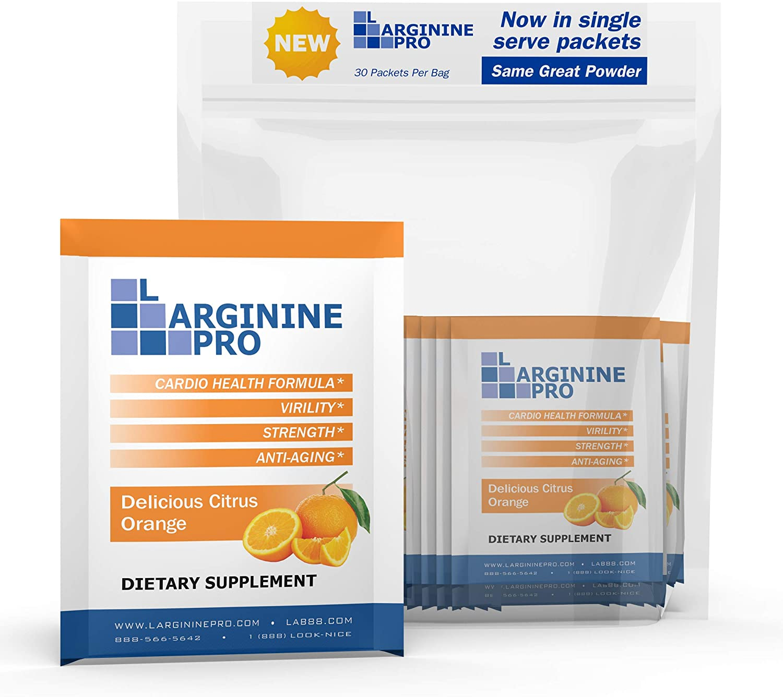 L-arginine Pro Supplement ON-THE-GO Single Serve TRAVEL PACKETS – 5,500mg of L-arginine Plus 1,100mg L-Citrulline 30 Single Packs