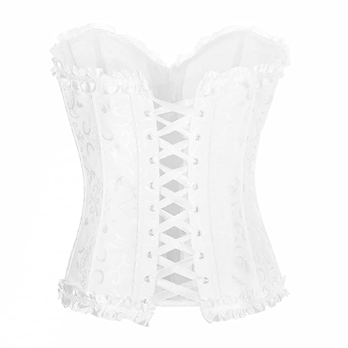 c27117aa2 Muka Women Plus Size Corset Lace Up Overbust Bridal Bustier with Panties   Amazon.ca  Clothing   Accessories