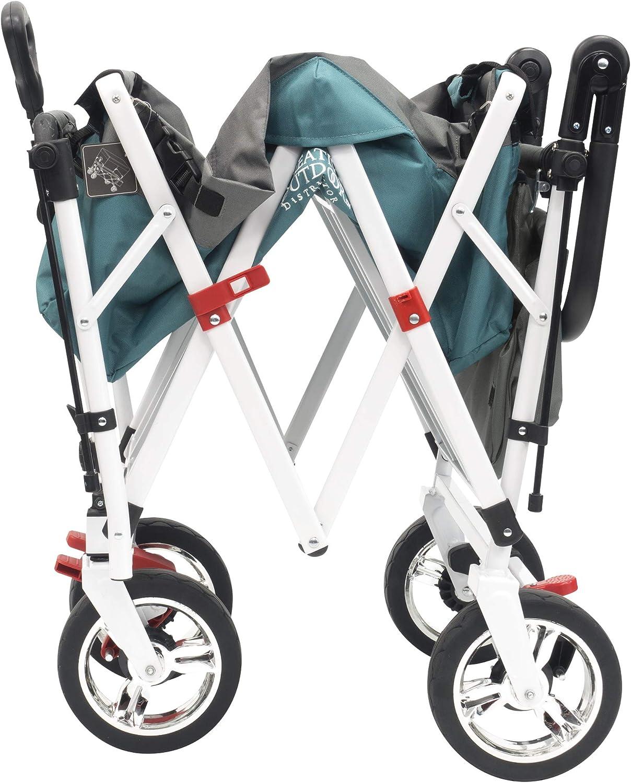 Creative Outdoor Distributor Push Pull Wagon for Kids, Foldable with Sun Rain Shade Teal