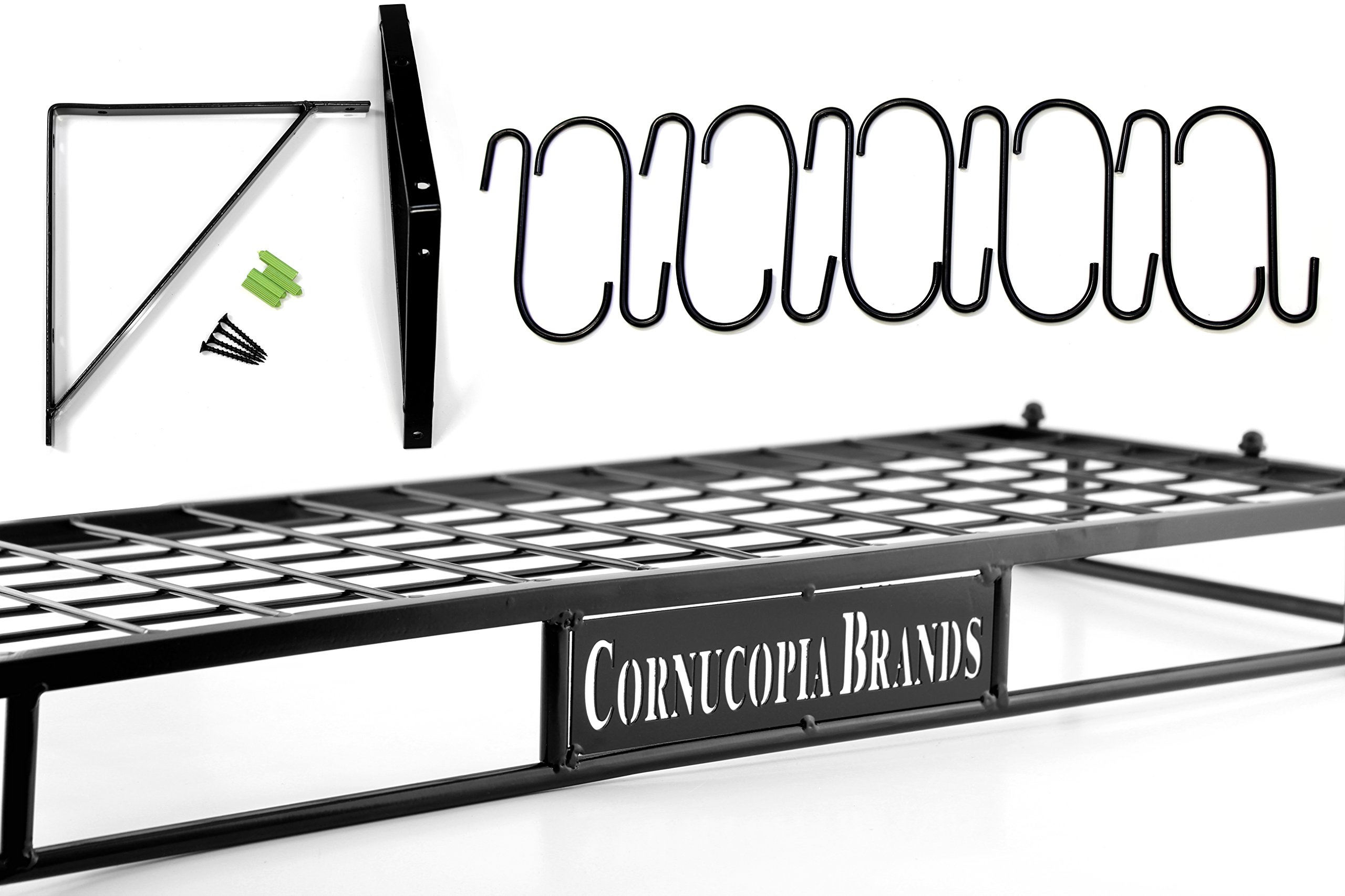 Wall-Mounted Pot Hanging Rack, 24 by 10 Inches, All-Black Decorative Kitchen Shelf w/ 10 S-Hooks by Cornucopia Brands (Image #4)