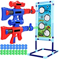 JUOIFIP Shooting Game Toy for Age 5 6 7 8 9 10+ Years Old Kids, 36 Foam Balls Air Powered Shooter Toy with 2 Foam Ball Popper Air Guns & Shooting Target - Ideal Gift - Compatible with Toys Guns