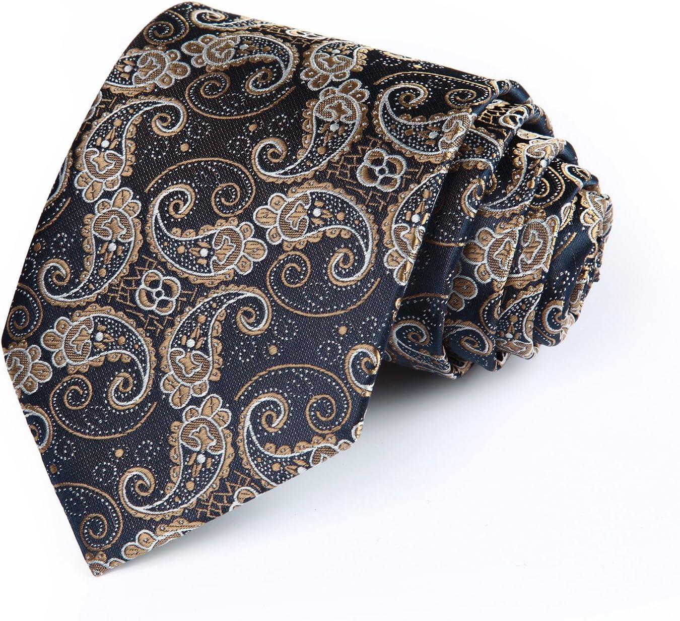 HISDERN Lot 3 PCS Classic Mens Silk Tie Set Necktie /& Pocket Square Multiple Sets T3-09 One Size TA3009