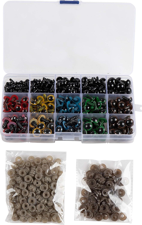 Kunststoffaugen 5 verschiedene Gr/ö/ßen Knopfaugen Sicherheitsaugen 6 verschiedene Designs 304er-Pack Puppenaugen mit Aufbewahrungsbox und Unterlegscheiben