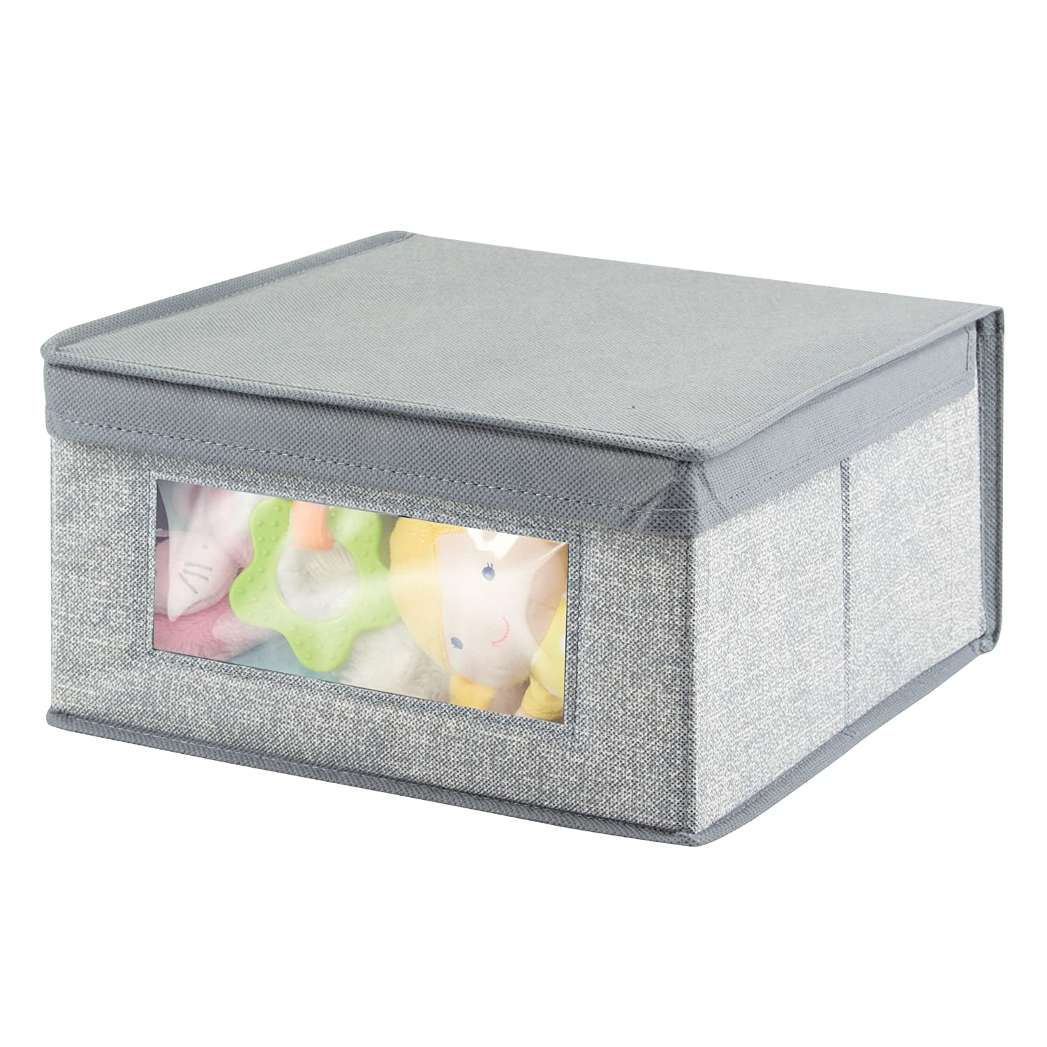 Nursery for Child//Kids Room mDesign Soft Stackable Fabric Closet Storage Organizer Holder Box Gray MetroDecor 2271MDB Small Textured Print Attached Lid Clear Window 2 Pack