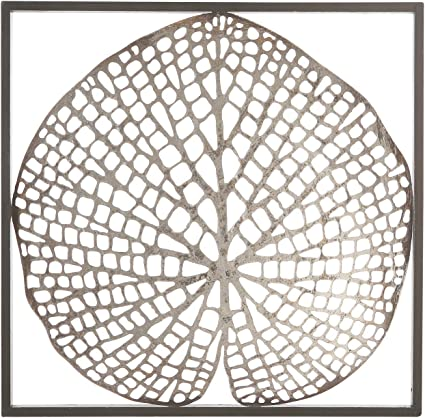 74742 Mur Déco feuilles Foncé Brune Cadre Feuilles Argent Métal 30 x 30 cm