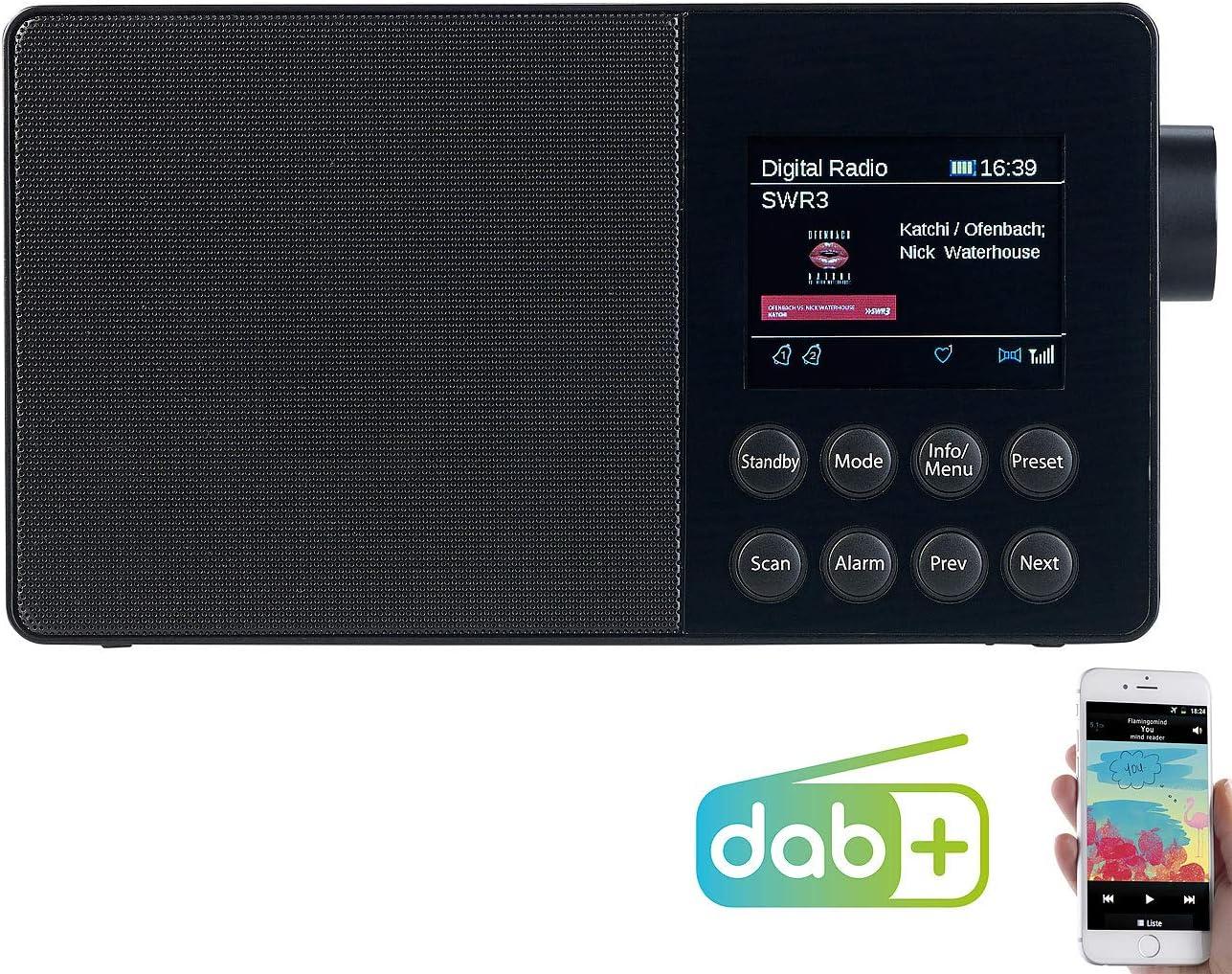 Radio DAB Radio portátil con batería de radio digital portátil con DAB+,  FM, Bluetooth y pantalla a color, 16 W (DAB Radio batería Bluetooth)
