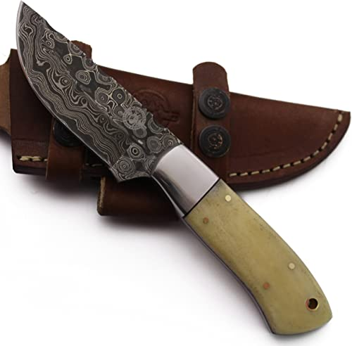 WolfKlinge DCX18-101 Handmade Damascus Steel Hunter, Camel Bone Handle, with Cowhide Leather Sheath Be The First to Review This Item