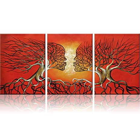 Red Trees Wall Art Modern Abstract Framed Giclee Canvas Prints Small Red Wall  Art Office Artwork