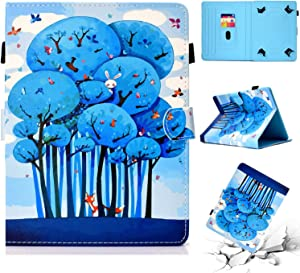 """Universal Folio Case for 7 inch Tablet, Cookk PU Leather Multi-Angle Stand Magnetic Cover with Money/Card Holder for 6.5"""" to 7.5"""" Touchscreen Andriod ASUS,Acer,RCA,Dell,HP,Samsung,Apple,Animal Forest"""