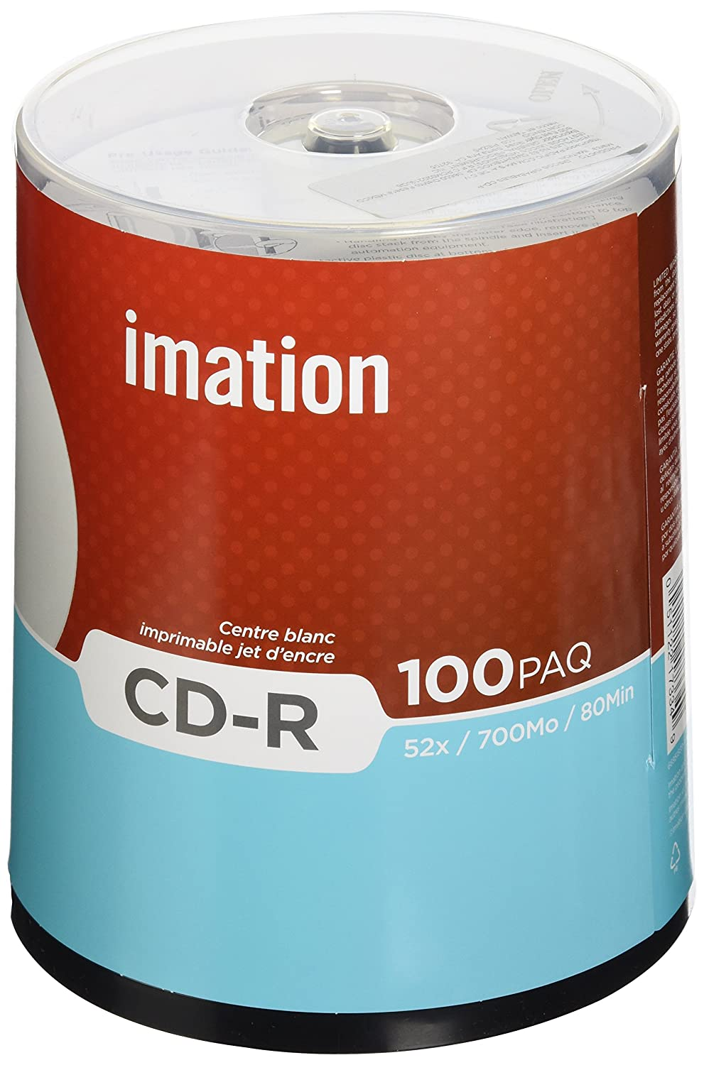 Imation 52x CD-R 700 MB 80 Min 100 Pack Spindle White IJ Printable Hub Printable Memorex 66000126004