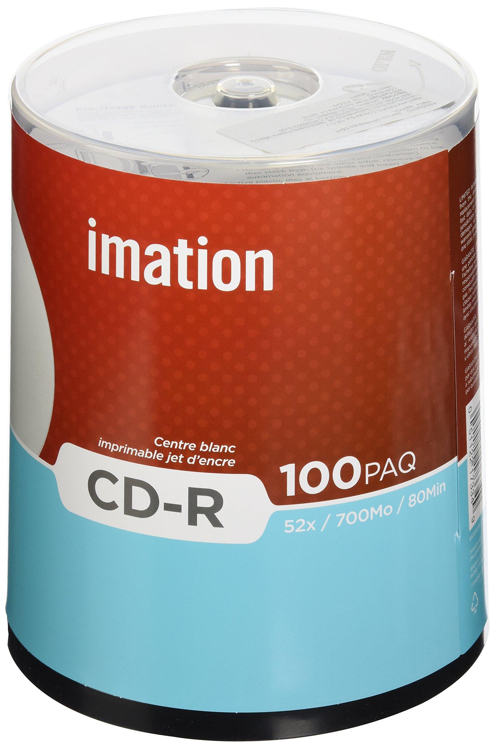 Imation 52x CD-R 700 MB 80 Min 100 Pack Spindle White IJ Printable Hub Printable