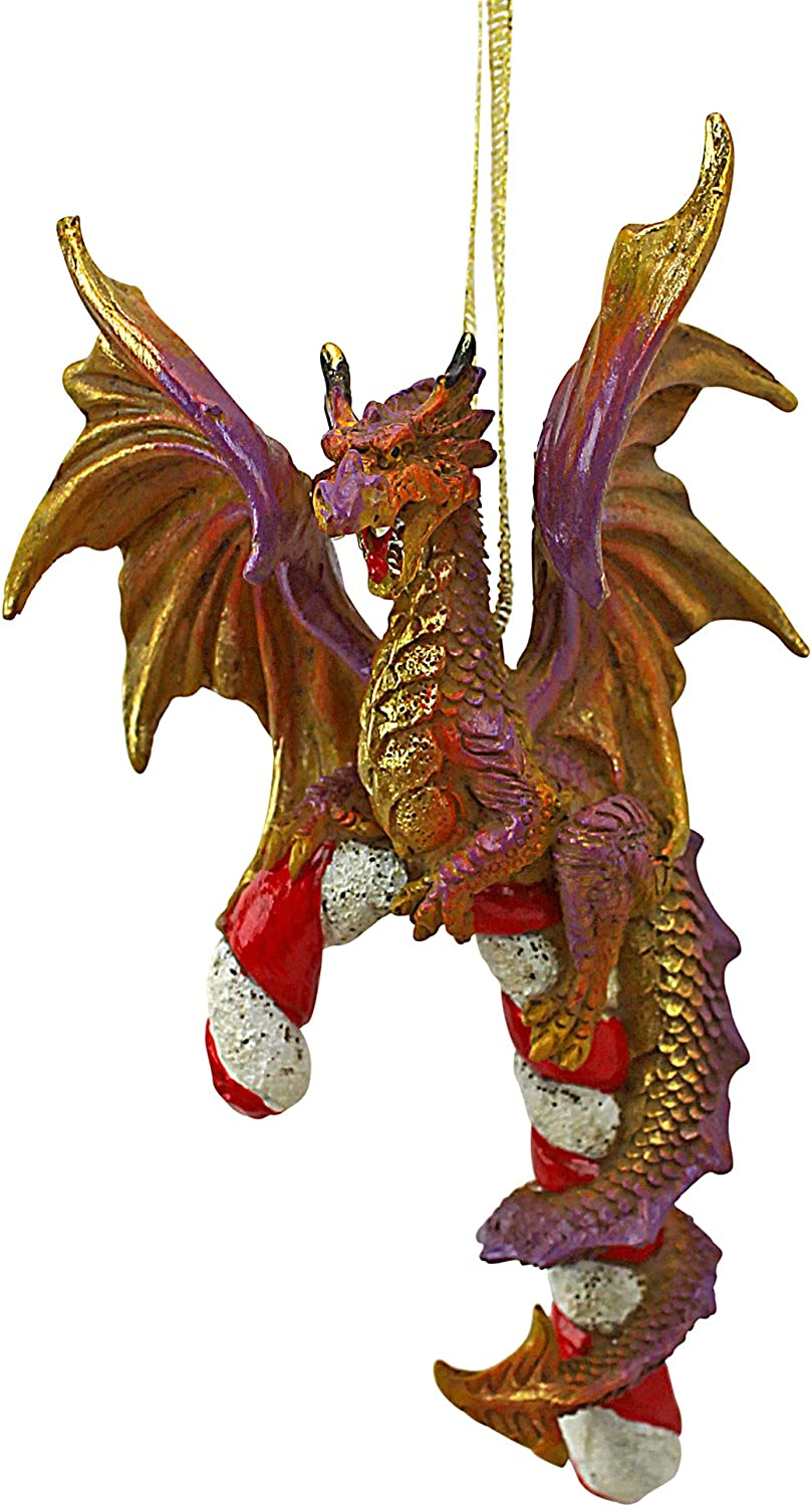 Candy Cane and ABEL The Dragon 2017 Holiday Ornament: Set of Three Christmas Decorations Dragon Statue Design Toscano Christmas Tree Ornaments