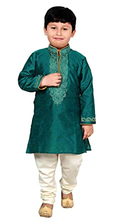 d4c9af1b19b6c Boys Indian Sherwani Kurta in Art Silk with pyjama for Bollywood theme party  wear outfit 907