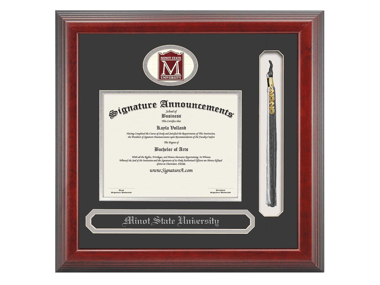 Cherry 16 x 16 Signature Announcements Minot-State-University Undergraduate Sculpted Foil Seal /& Name Graduation Diploma Frame