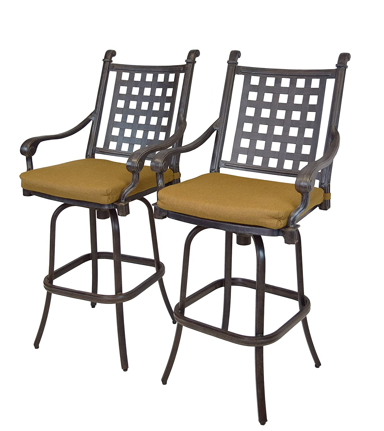 Outstanding Oakland Living 2 Piece Belmont Aluminum Swivel Bar Stool Set Aged Black Unemploymentrelief Wooden Chair Designs For Living Room Unemploymentrelieforg