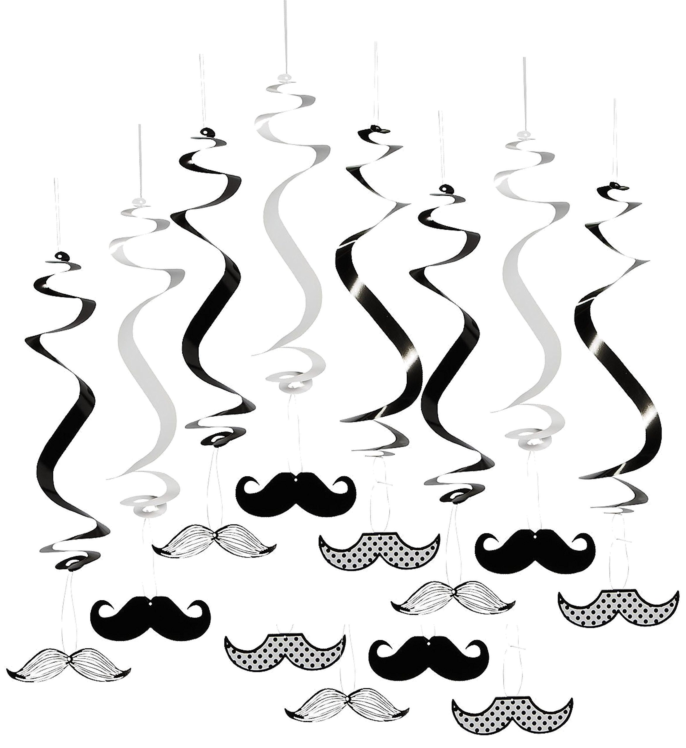 Mustache Baby Shower Birthday Party Supply Bundle Bulk Pack Includes 12 Swirl Decorations, 50 Mustache Food Picks, 12 Latex Balloons, and 1 Mustache Table Cover (BONUS! Matching Party Straw Pack) by Everyday Party Bundles (Image #5)