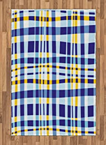 Ambesonne Yellow and Blue Area Rug, Retro Scottish Checkered Tartan with Color Stripes Lines Pattern, Flat Woven Accent Rug for Living Room Bedroom Dining Room, 4' X 5.7', Blue