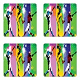 Ambesonne Baseball Coaster Set of 4, Players in