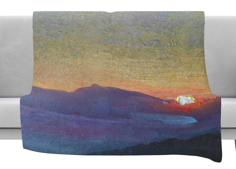 60 x 40 Fleece Blankets Kess InHouse Carol Schiff Mountain Sunset Orange Nature Throw