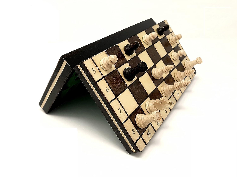 Nuovo Mini Magnetico Scacchiera In Legno 27cm x 27cm Prime Chess