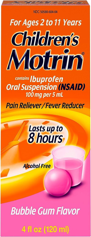 Children's Motrin Oral Suspension, Pain Relief, Ibuprofen, Bubble Gum Flavored, 4 Oz: Health & Personal Care