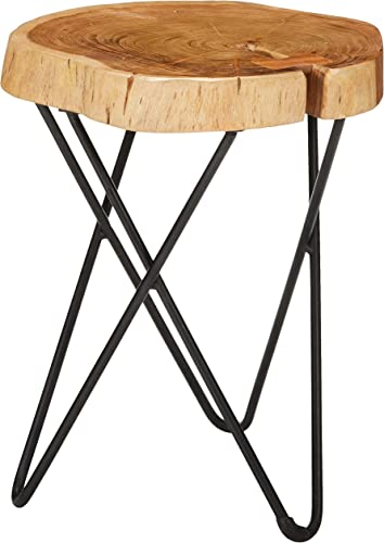 Bare Decor Sawyer Metal and Tree Trunk Wood End Table, 19 High