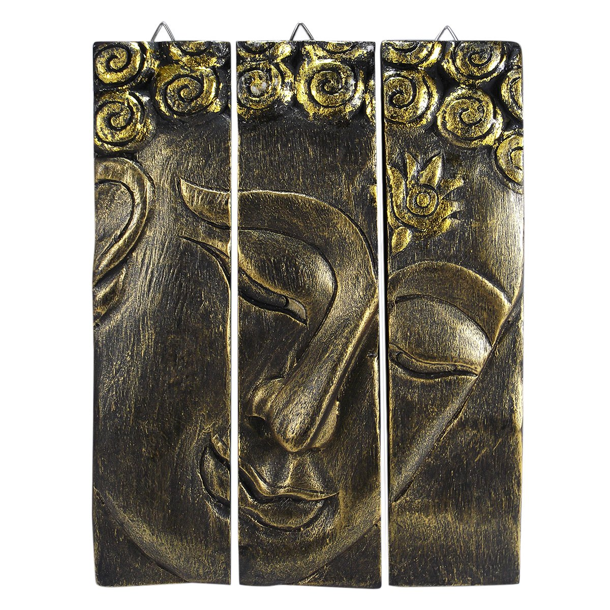Gold-tone Buddha Face Nirvana Spirit 3-Panel Hand Carved Rain Tree Wood Wall Art Relief Panel Meditating Buddhism Peace Zen Wall Sculpture by AeraVida