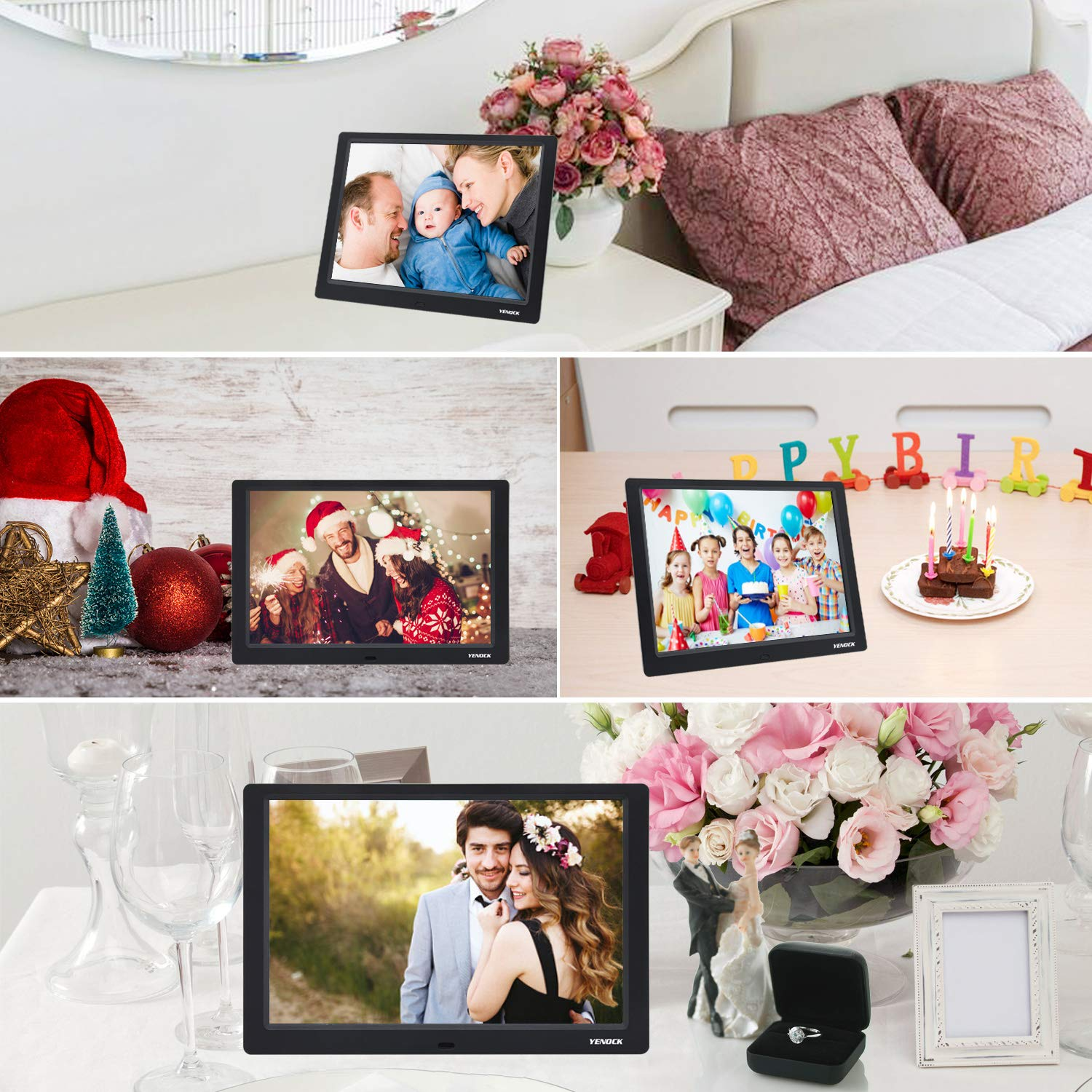 YENOCK Digital Picture Frame, 10.1 Inch IPS Screen Digital Photo Frame 1280×800 Pixels High Resolution Photo/Music/HD Video Player/Calendar/Alarm Auto On/Off Advertising Player with Remote Control by YENOCK (Image #6)