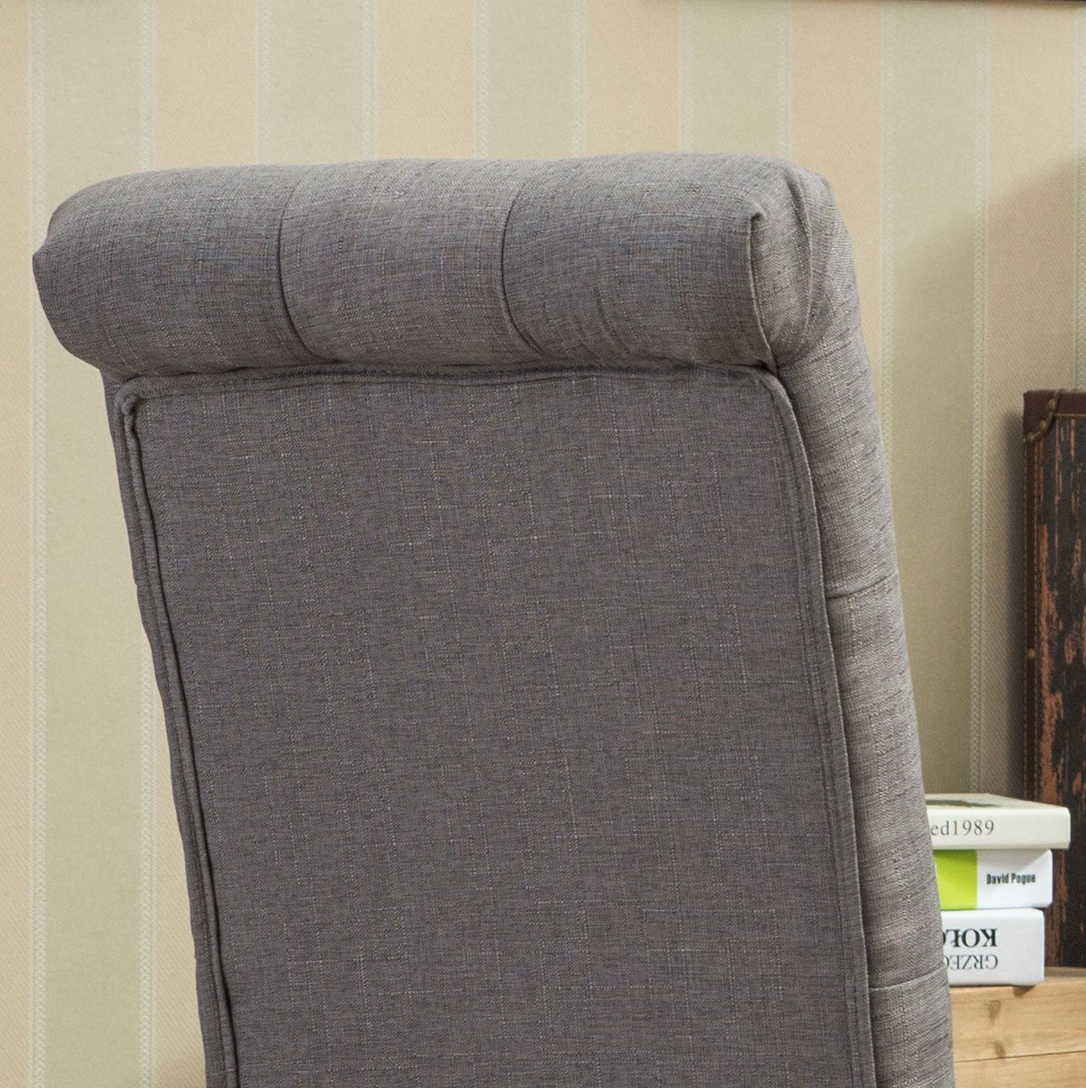 Roundhill Furniture Habit Grey Solid Wood Tufted Parsons Dining Chair (Set of 2), Gray by Roundhill Furniture (Image #6)