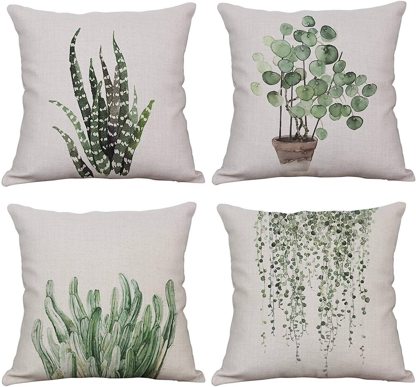 YeeJu Set of 4 Green Plant Throw Pillow Covers Decorative Cotton Linen Square Outdoor Cushion Cover Sofa Home Pillow Covers 12x12 Inch