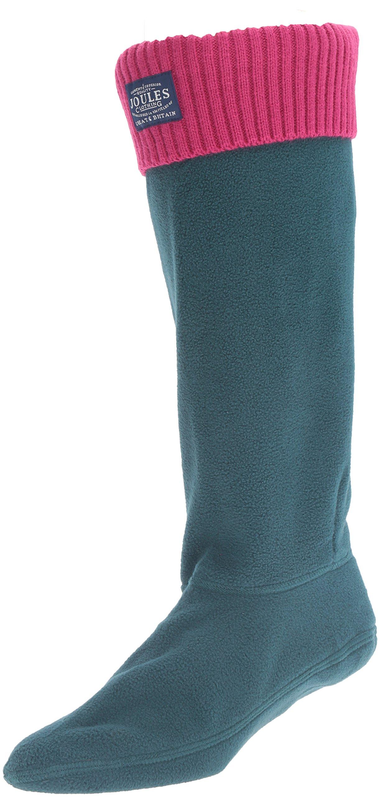 Joules Women's Hilston Rain Boot Sock, Dark Green, 7 M US