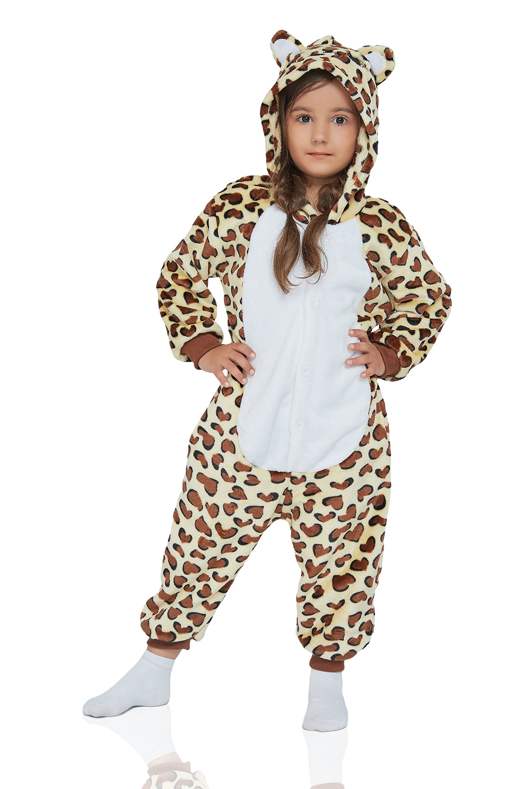 Kids Leopard Kigurumi Animal Onesie Pajamas Plush Onsie One Piece Cosplay Costume (Yellow, Brown, White) by Nothing But Love (Image #1)