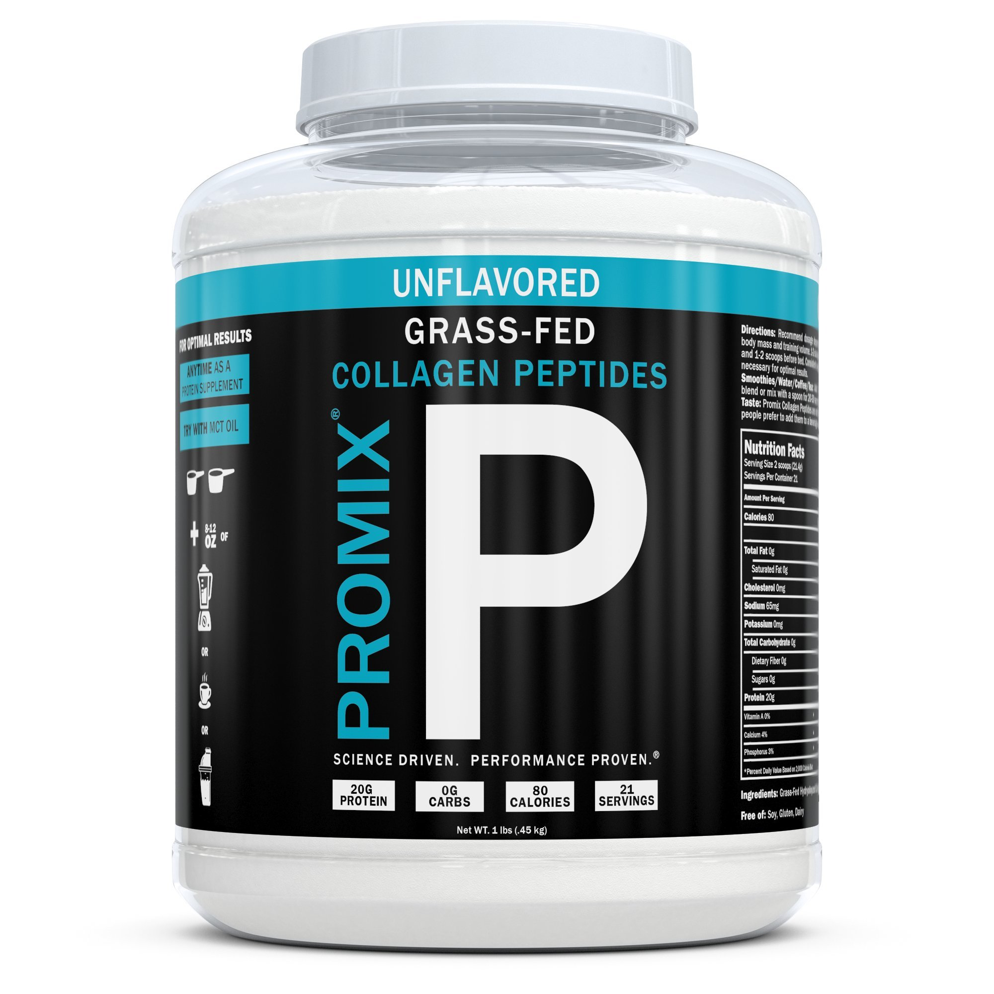 ProMix Nutrition Pasture-Raised, Grass-Fed Collagen Peptides, Unflavored, 21 Servings