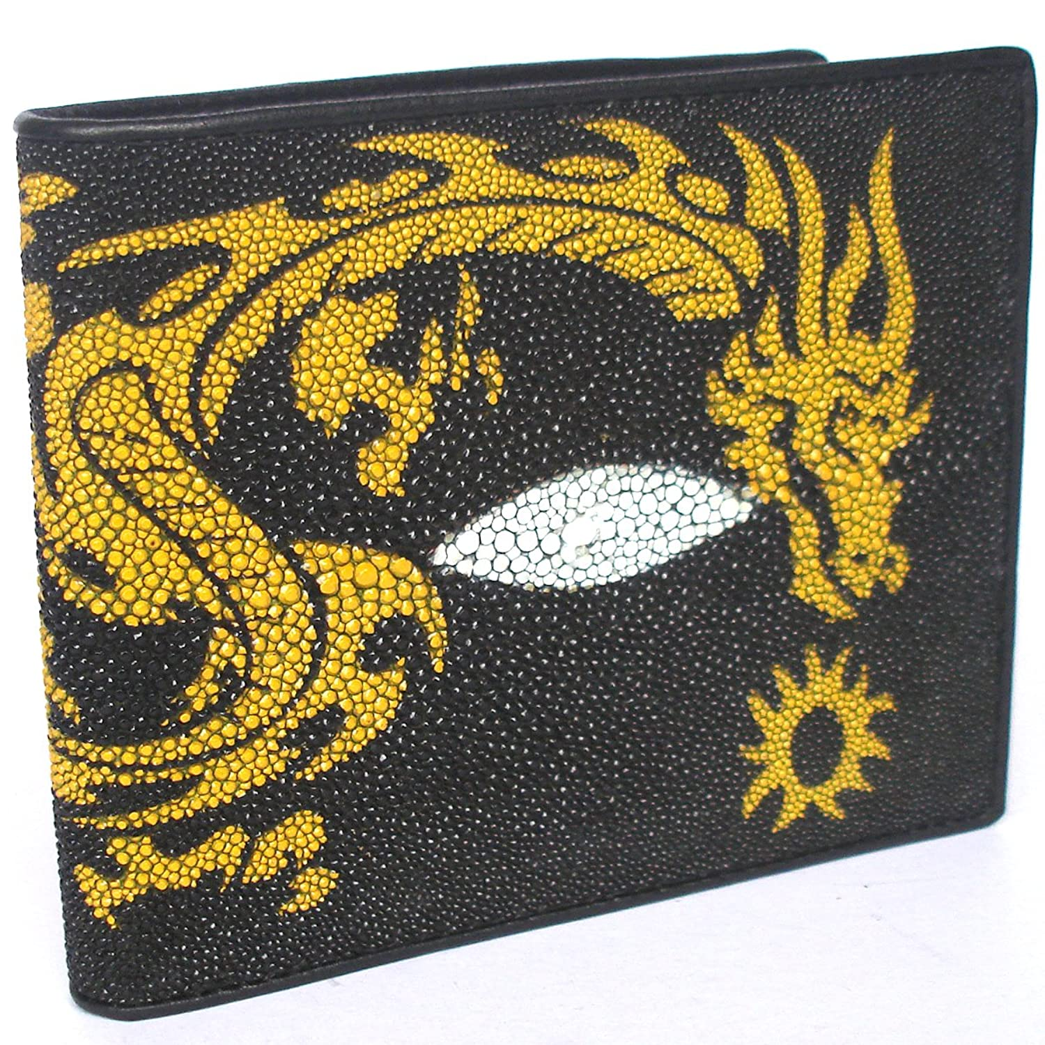 """HelloBangkok"" 100 % GENUINE STINGRAY LEATHER BIFOLD WALLET WITH YELLOW DRAGON (UNISEX) STANDARD US SIZE = CLOSED 4.2 X 3.5 INCHEN"