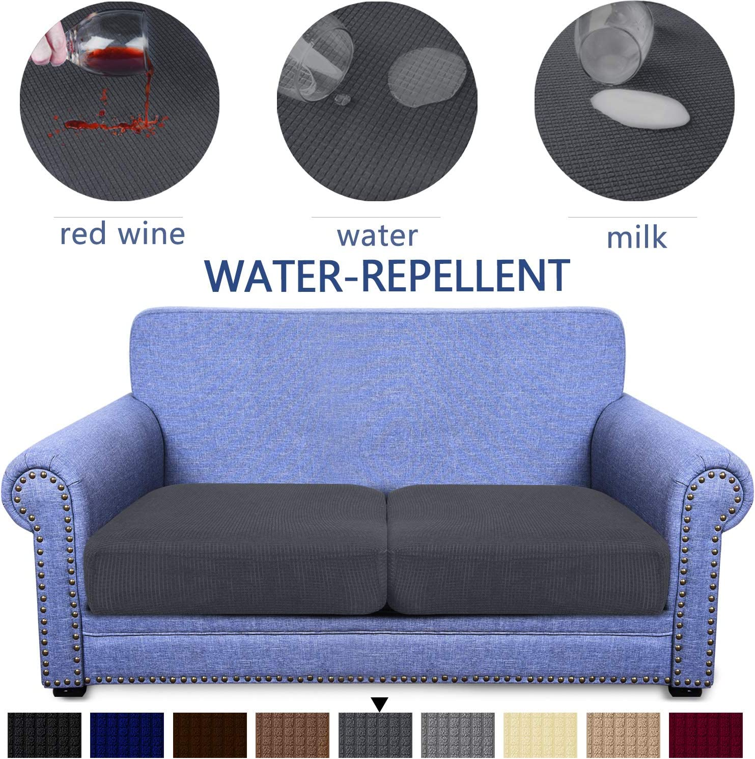 High Stretch Jacquard Fabric Sofa Seat Slipcover Protector Granbest Premium Water-Repellent Couch Seat Cushion Cover Chocolate, 2-Piece loveseat Cushion
