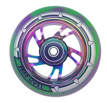 Rueda de patinete Team Dogz con diseño arcoíris, núcleo de aleación de 110 mm y rodamientos mixtos de goma sintética y ABEC11