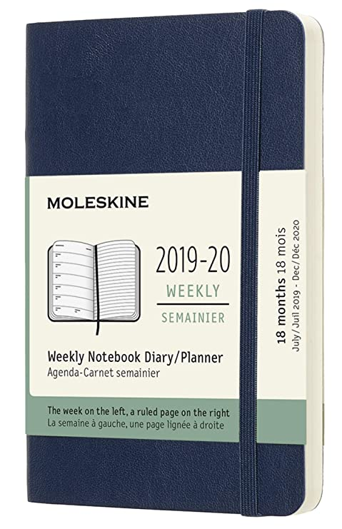 Moleskine Classic 18 Month 2019-2020 Weekly Planner, Soft Cover, Pocket (3.5
