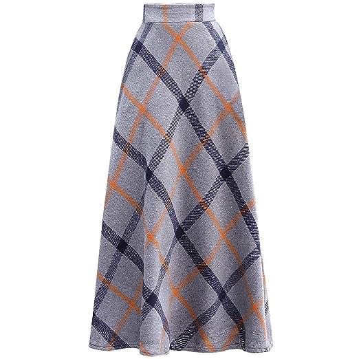 a73d3d70e4 Winter Women Vintage Woolen Plaid High Waist Big Hem Elegant Long Skirt XL