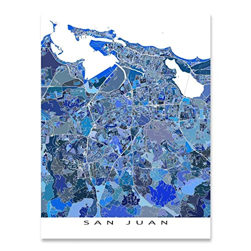 photo about Printable Maps of Puerto Rico named : San Juan Map Print, Puerto Rico, Caribbean