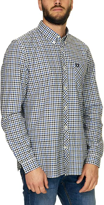 Fred Perry Four Colour Gingham Shirt Royal-M: Amazon.es: Ropa y accesorios