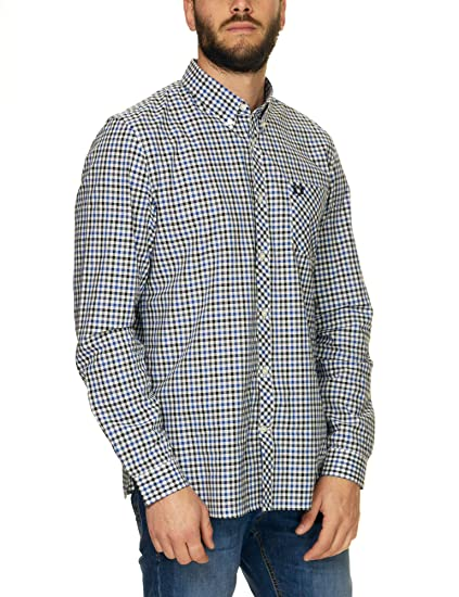 Fred Perry Four Colour Gingham Shirt Royal-L: Amazon.es: Ropa y ...