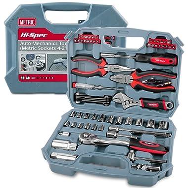 Car Tool Kit, Hi-Spec DT30016M, Auto Mechanics 3/8 , 4-19mm METRIC Sockets Set, T-Bar, Extension Bar, 67 Pieces METRIC Hand Tools & Screw Bits in Storage Case