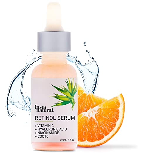 InstaNatural Retinol Serum - Anti Wrinkle Anti Aging Facial Serum - Helps Reduce Appearance of Puffiness, Wrinkles, Crows Feet & Fine Lines - with Vitamin C & Hyaluronic Acid - InstaNatural - 1 oz best night serum