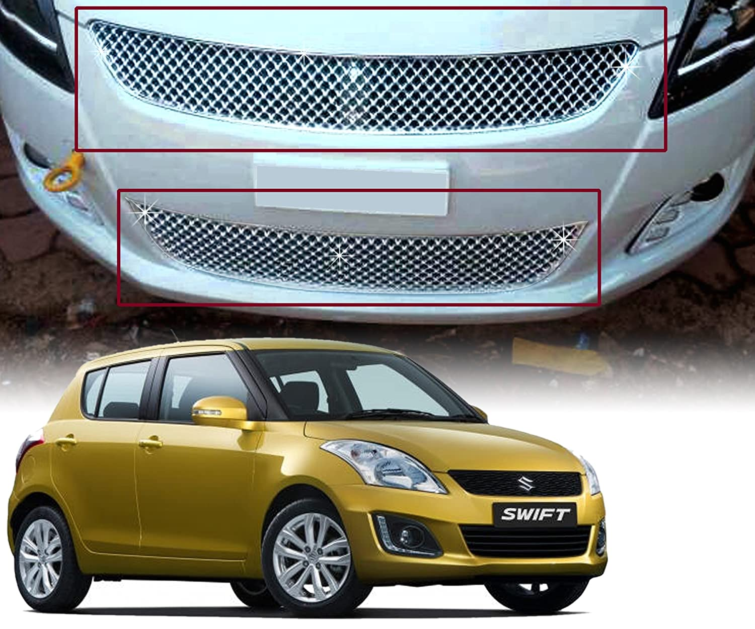 Auto pearl chrome plated front grill for maruti suzuki swift 2014 model with s logo amazon in car motorbike