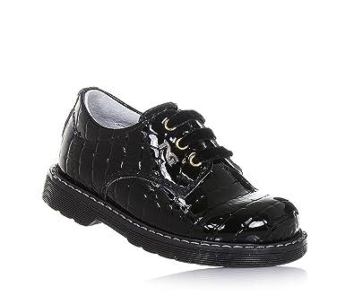 Nero Giardini Chaussure à l'Anglaise à Lacets Noire, en Cuir Brillant, Lacets en Velours, Coutures Visibles et Semelle en Caoutchouc, Fille, Filles, Femme, femmes-33