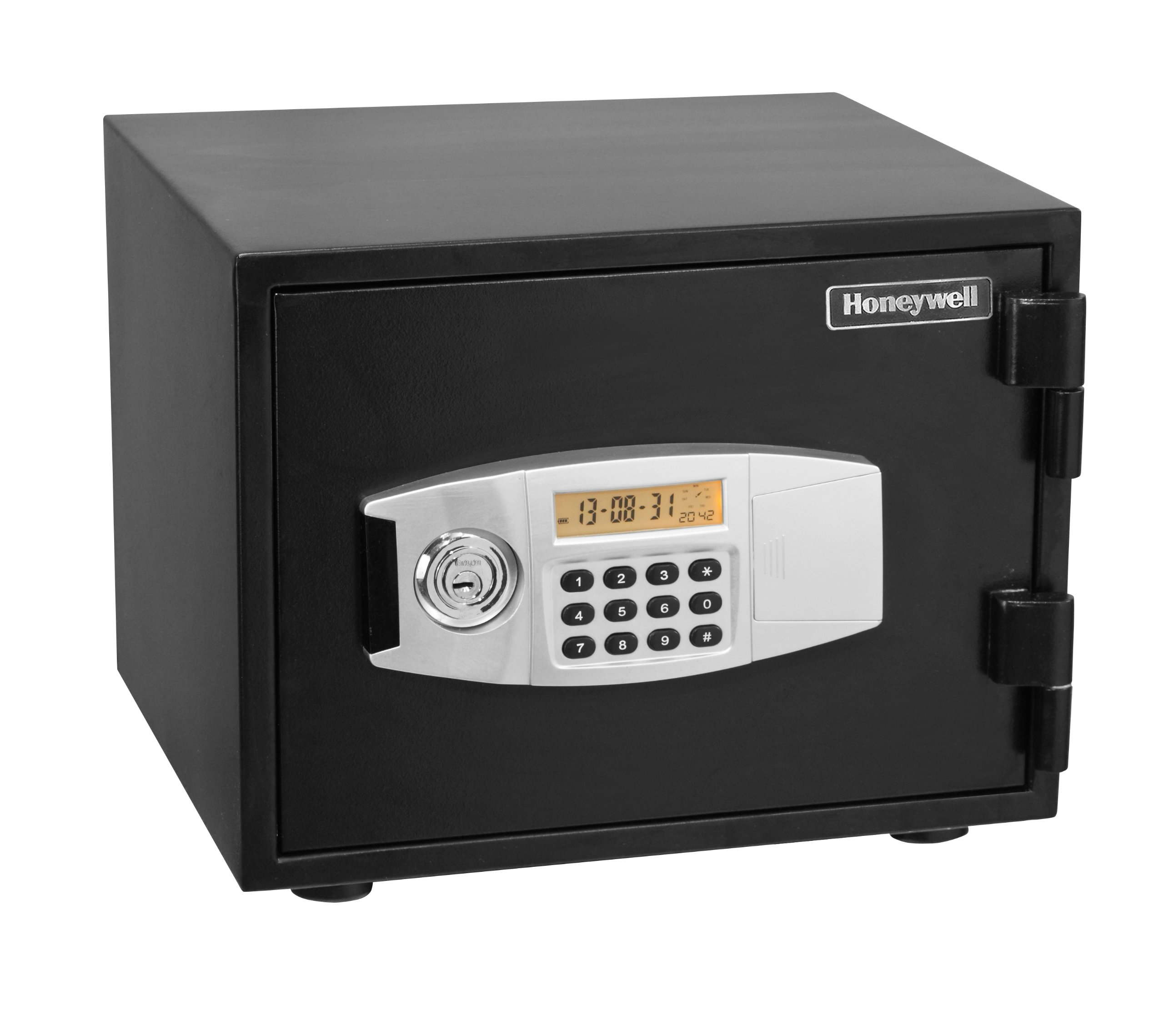 Honeywell 2111 Steel Fireproof Security Safe with Dual Digital Lock and Key Protection, 0.52-Cubic Feet, Black